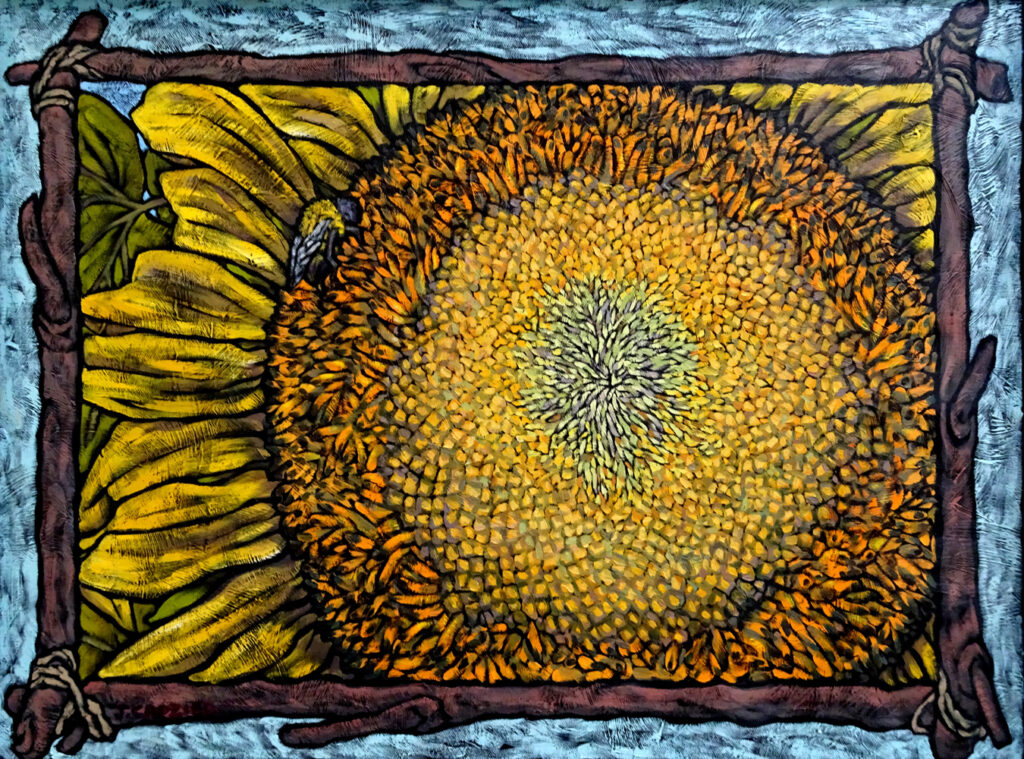 """<p style=""""font-size: 16px; line-height: 150%;""""><strong><em>Sunflower with Bee</em></strong>&emsp;<br />   oil painting&emsp;<br /> 19&rdquo; x 25&rdquo; 