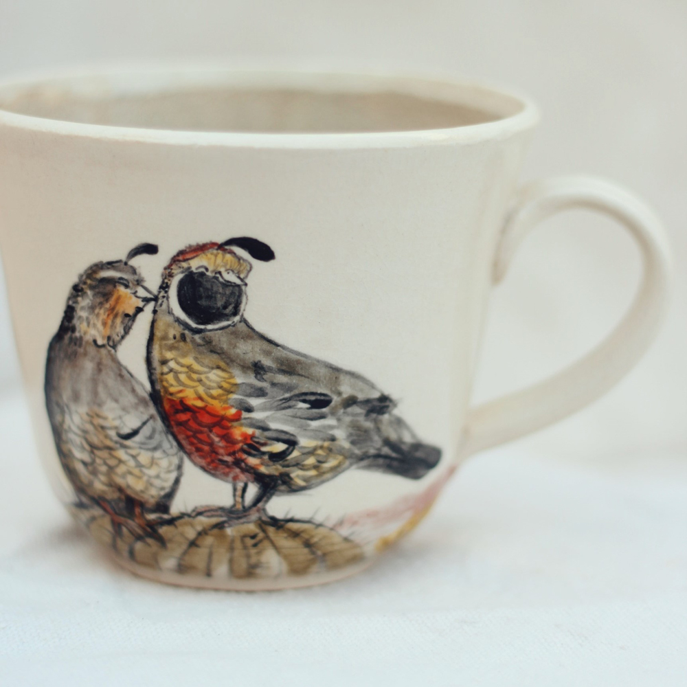 """<p style=""""font-size: 16px; line-height: 150%;""""><strong>Arizona Quail Mug&emsp;</strong><br /> 16 oz.<br /> <strong>$75</strong></p>"""