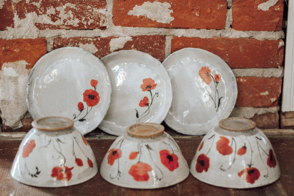 """<p style=""""font-size: 16px; line-height: 150%;""""><strong>Poppy Set&emsp;</strong><br />  3 bowls, 3 plates (6&frac12;&rdquo;)<br> <strong>$195</strong></p>"""