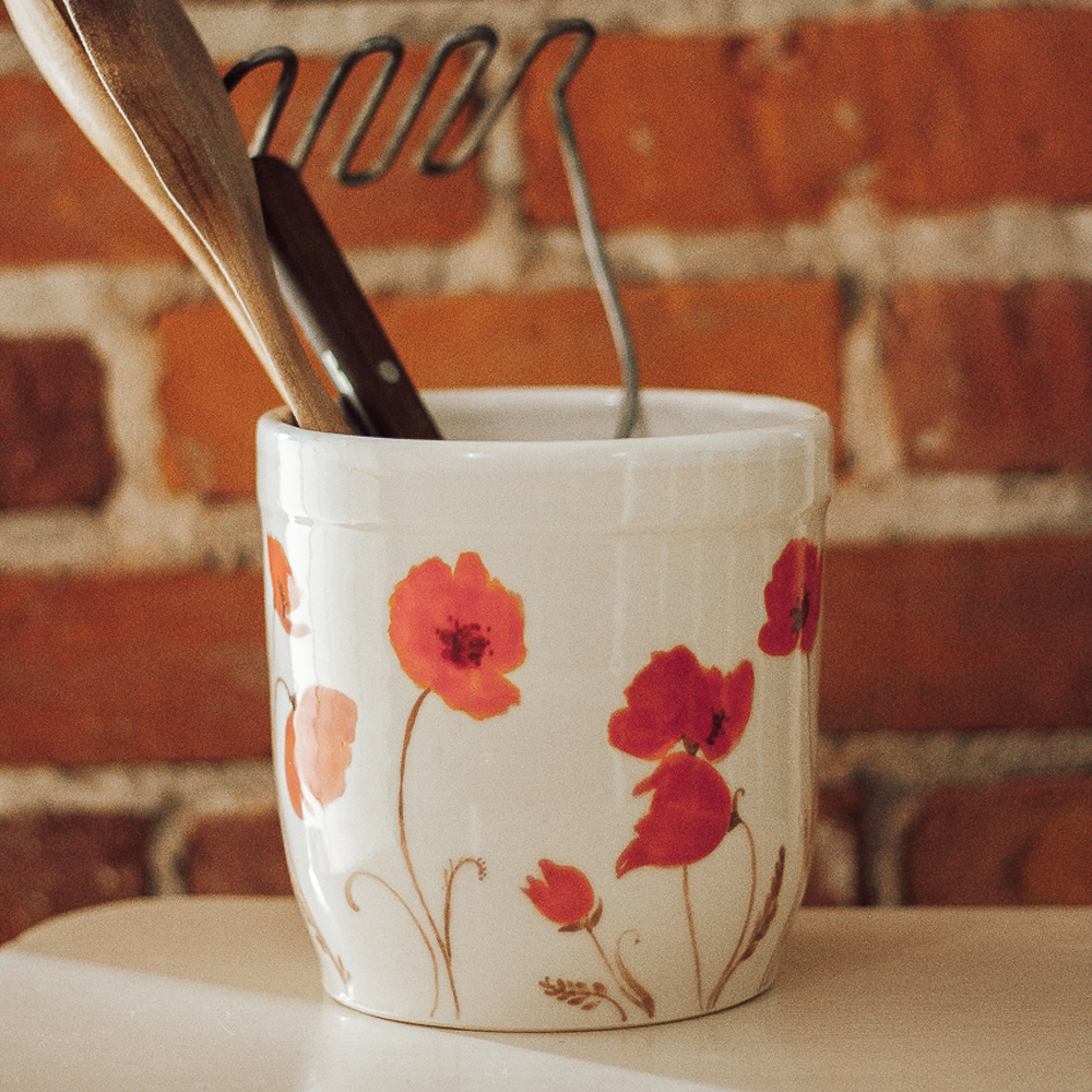"""<p style=""""font-size: 16px; line-height: 150%;""""><strong>Poppy Utensil Holder&emsp;</strong><br /> 6&rdquo;<br /> <strong>$75</strong></p>"""