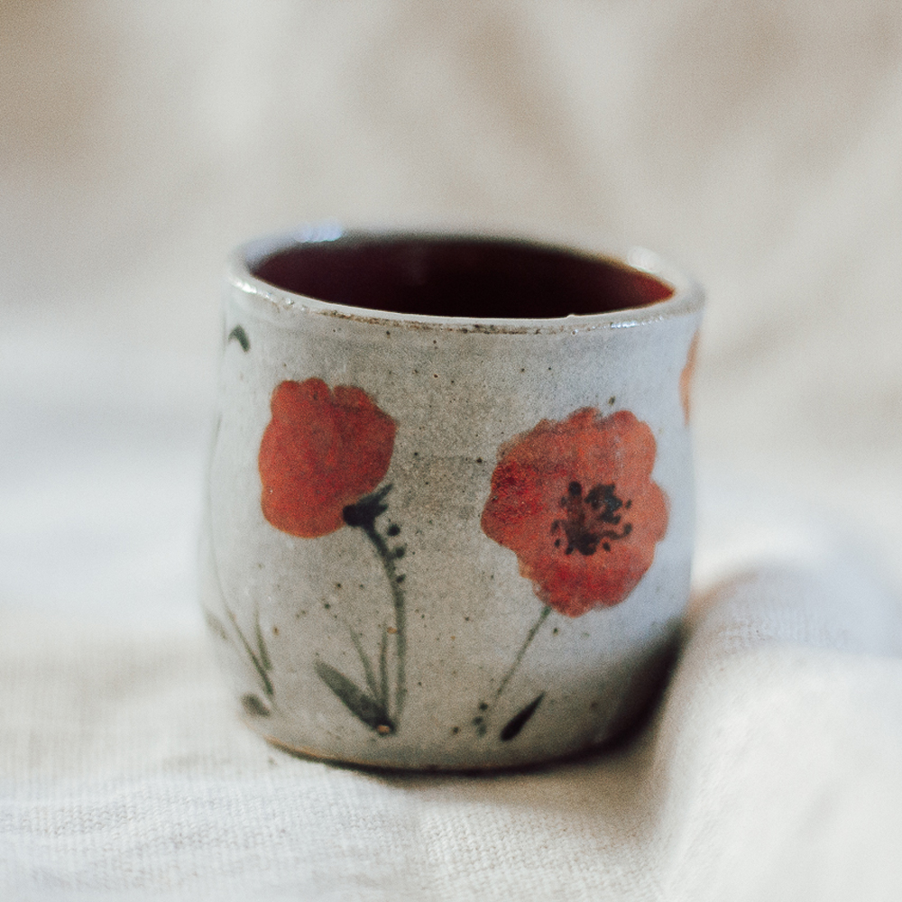 """<p style=""""font-size: 16px; line-height: 150%;""""><strong>Tiny Poppy Espresso Yunomi&emsp;</strong><br /> 4 oz.<br> <strong>$40</strong></p>"""