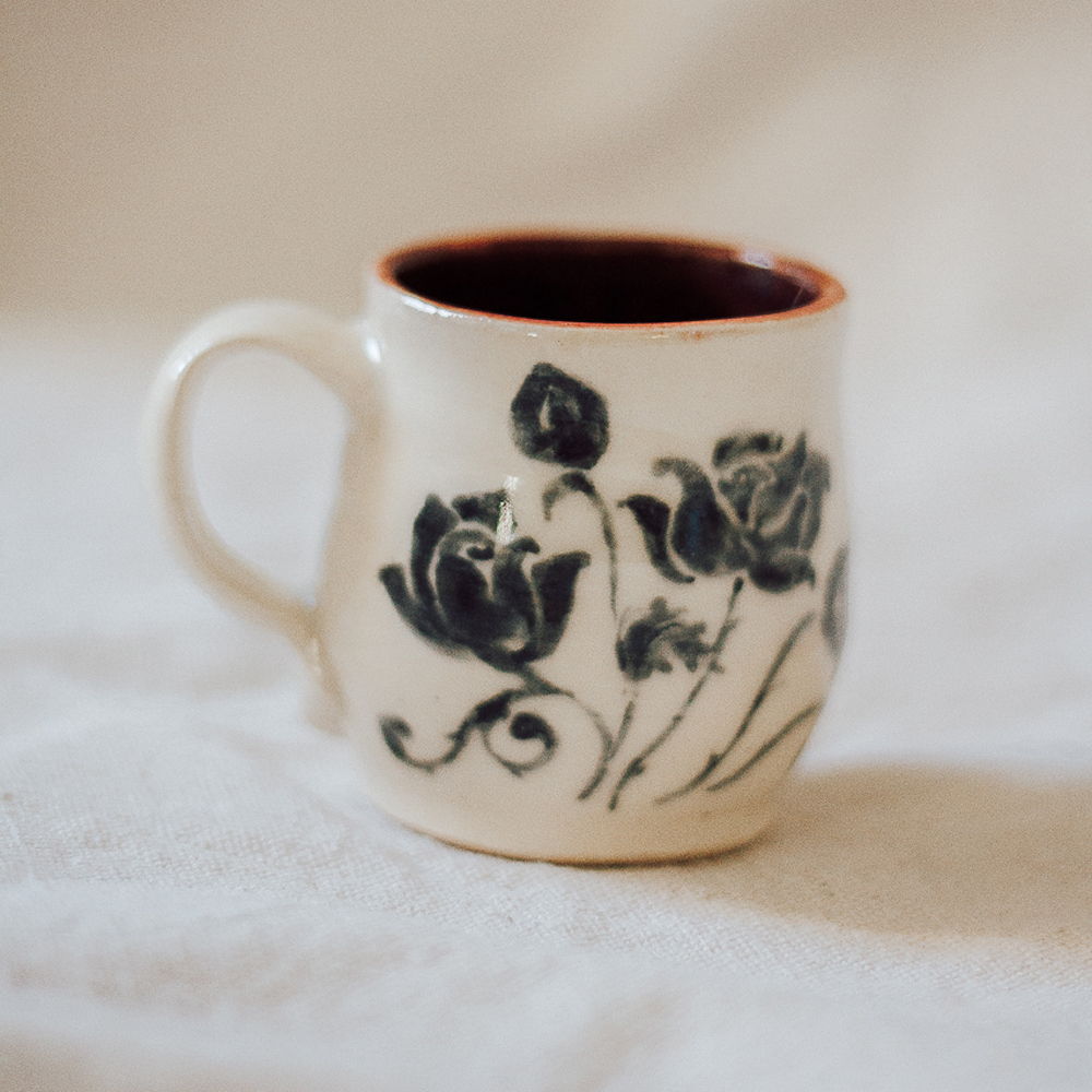 """<p style=""""font-size: 16px; line-height: 150%;""""><strong>Tiny Roses Mug&emsp;</strong><br />  4 oz.<br> <strong>$35</strong></p>"""