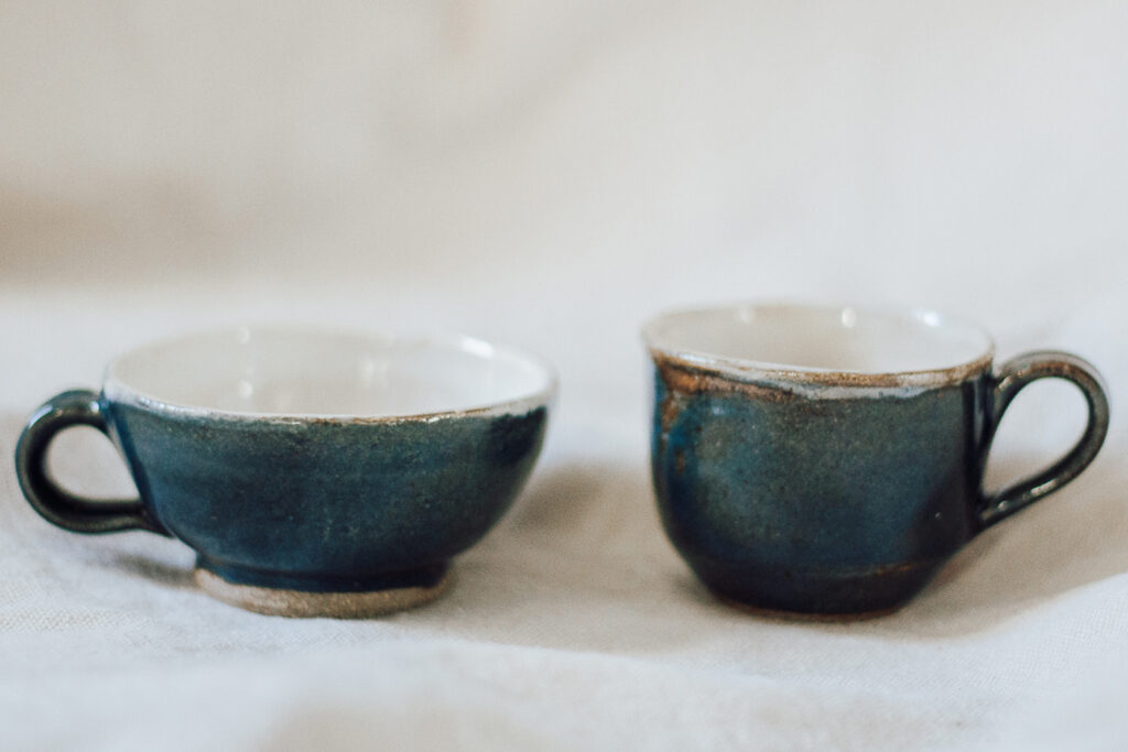 "<p style=""font-size: 16px; line-height: 150%;""><strong>Two Blue Teacups</strong>&emsp;<br />   Set of 2, 4 oz. each<br />  <strong>$45</strong></p>"