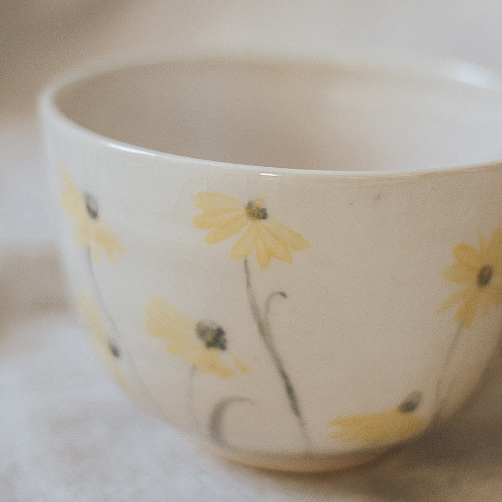 """<p style=""""font-size: 16px; line-height: 150%;""""><strong>Yellow Daisy Bowl&emsp;</strong><br />  3&rdquo; tall x 5&frac12;&rdquo; wide<br /> <strong>$40</strong></p>"""