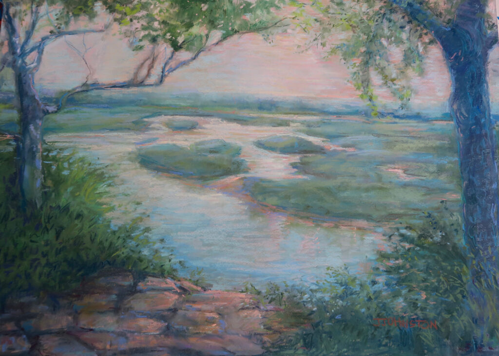 "<p style=""font-size: 16px; line-height: 150%;""><em><strong>Buena Vista Overlook&emsp;<br> </strong></em>Pastel  / 28&frac12;&rdquo; x 22&frac12;&rdquo; / Framed&emsp;<br> <strong>$750</strong></p>"