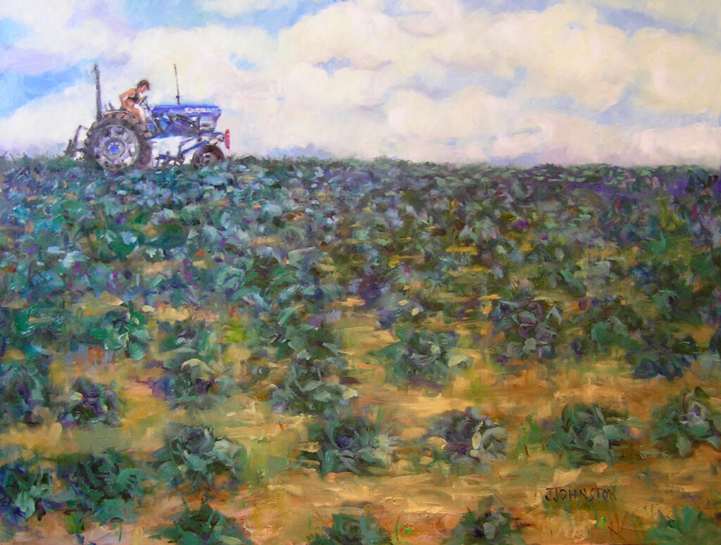 "<p style=""font-size: 16px; line-height: 150%;""><em><strong>Tilling the Brassica&emsp;<br> </strong></em>Oil  / 30&rdquo; x 24&rdquo; / Framed&emsp;<br> <strong>$700</strong></p>"