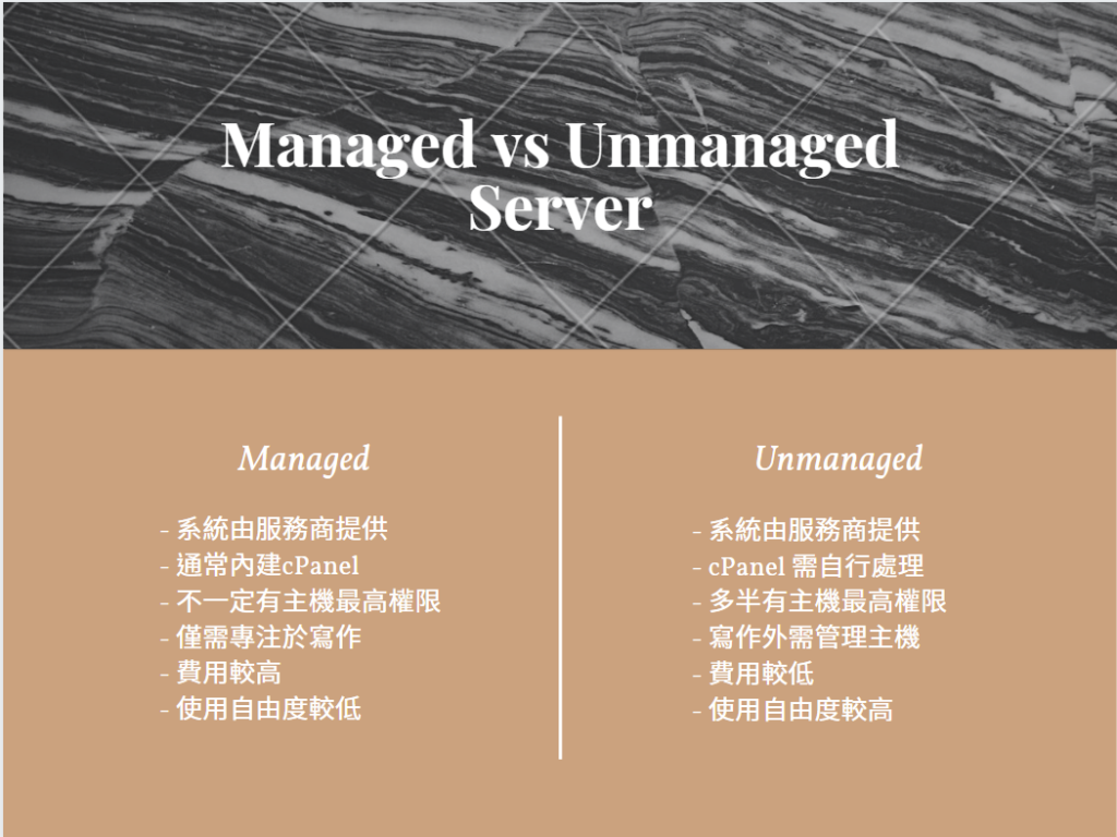 Managed與Unmanaged主機比較圖