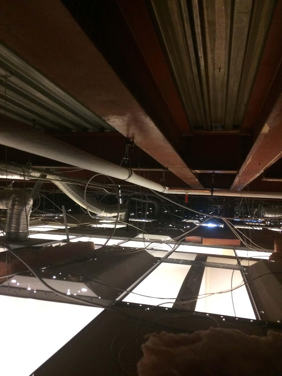 Plumbing in drop ceiling