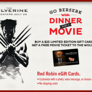 Red Robin: Purchase Limited Edition $25 Gift Card and Get a FREE Ticket to See The Wolverine (In Theaters July 26th) + Sweepstakes To Win a Trip for 2 to Japan + More!