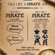 Reminder! Krispy Kreme: Talk or Dress Like A Pirate TODAY,  9/19/13 + More Dining Deals from Arby's Long John Silver's and More!