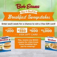 """Bob Evans """"Stop & Smell the Breakfast Sweepstakes"""": Win a VISA Gift Card Weekly + Score a Buy One, Get One FREE Bob Evans Frozen Breakfast Item Coupon (With Sweeps Entry)"""