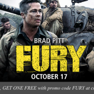 """Save at the Movies: Buy 1, Get 1 FREE Ticket to See """"Fury"""" Movie + Score a Large Popcorn at AMC Theaters for $1"""