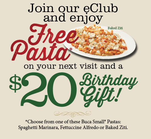 Buca Di Beppo Sign Up For Eclub Get Free Pasta A 20 Birthday Gift Hip Mama S Place