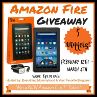 Amazon Fire Tablet Giveaway (5 Winners!)