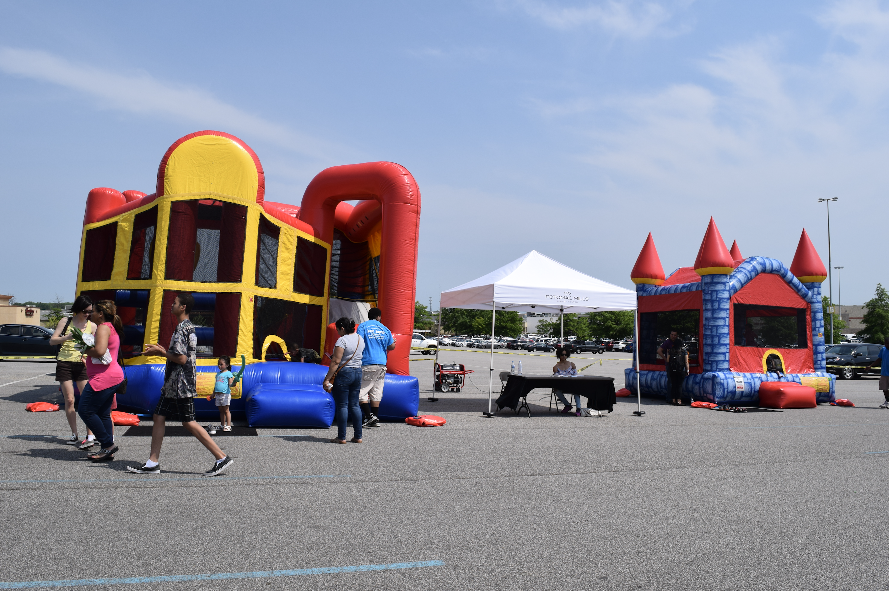 "Free moon bounce at ""The Market at Potomac Mills"" in Woodbridge, Virginia from April to October, 2017"