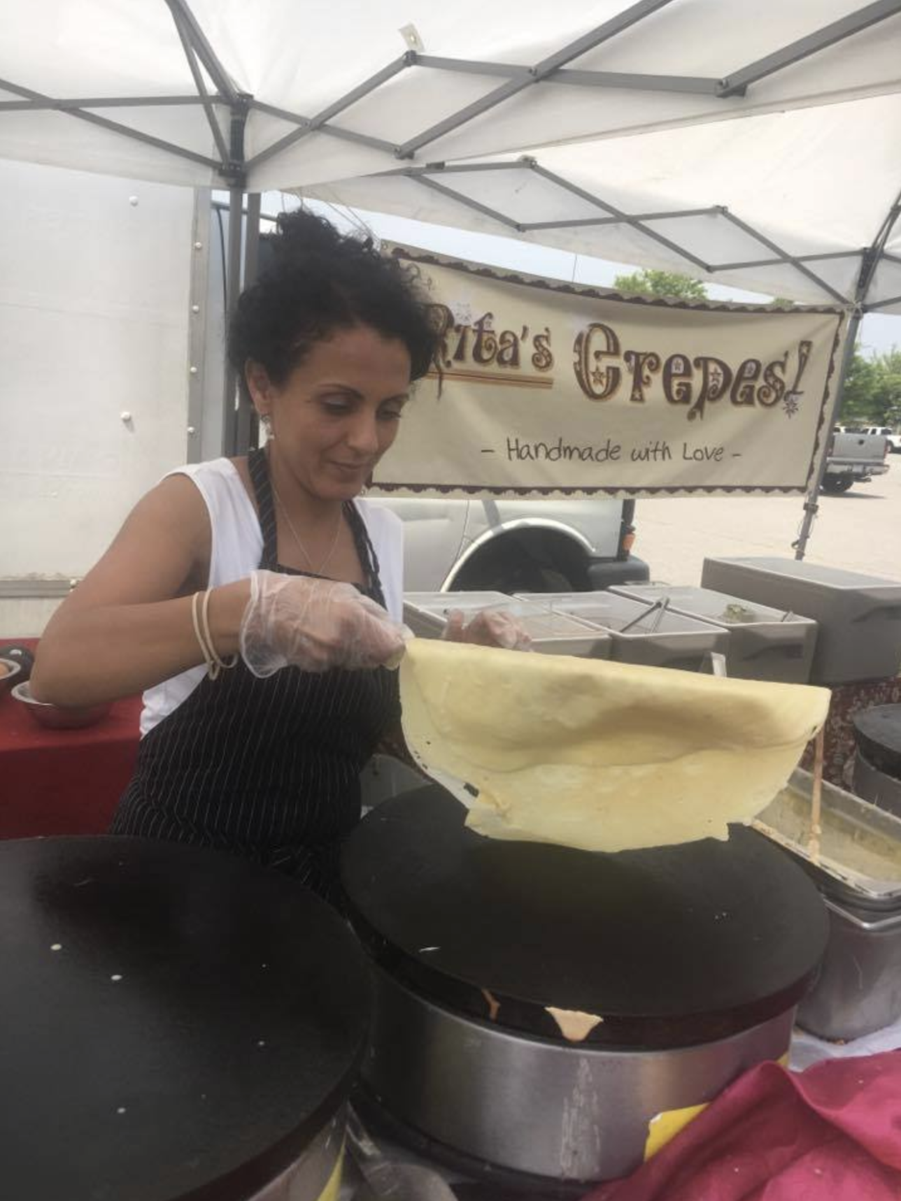 "Rita's Crepes are made fresh at ""The Market at Potomac Mills"" farmers market in Woodbridge, Virginia!"