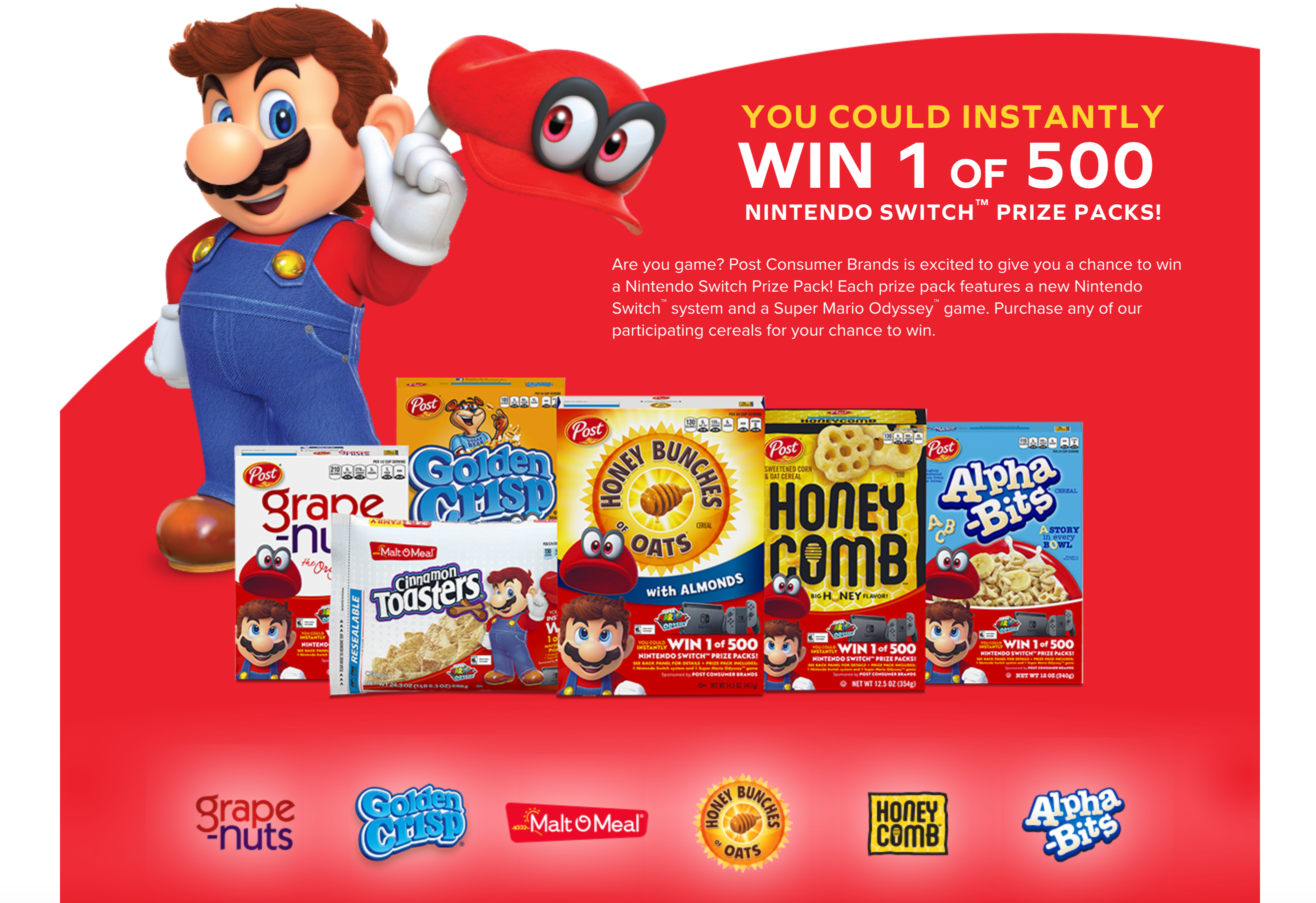 Win 1 of 500 Nintendo Switch Console + New Super Mario Odyssey Video Game Prize Pack!