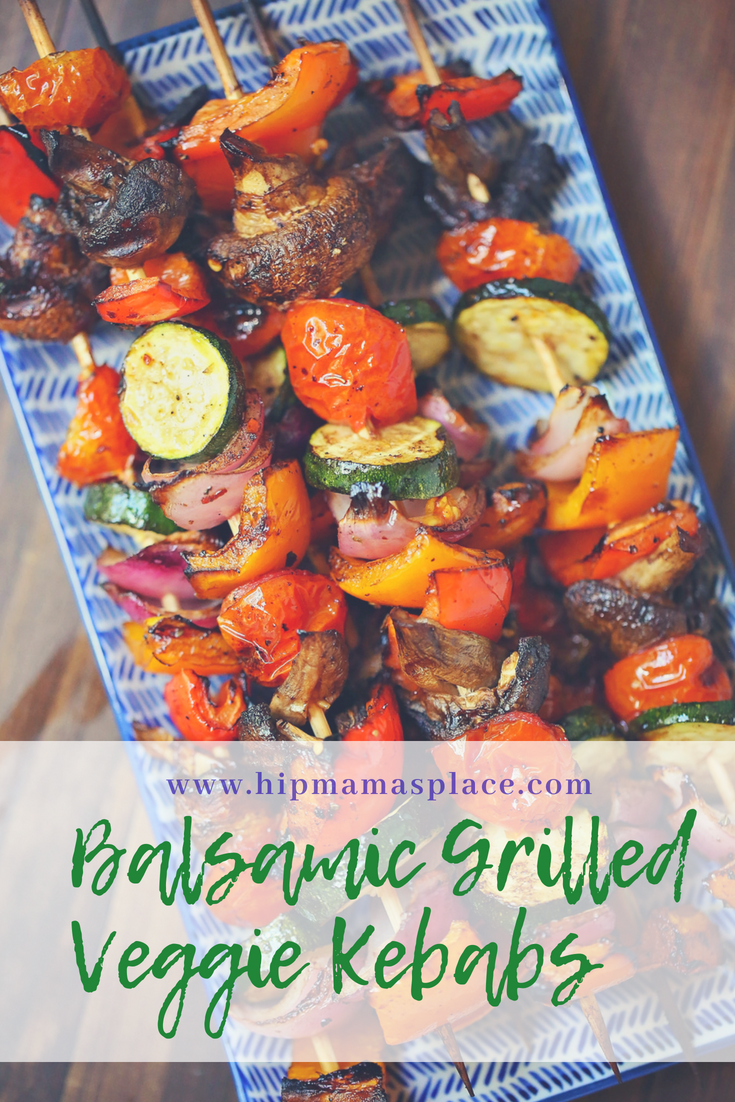 Balsamic Grilled Veggie Kebabs are fresh vegetables skewered and marinated in tangy balsamic vinaigrette glaze - perfect as a summertime side dish or as a meal in itself!