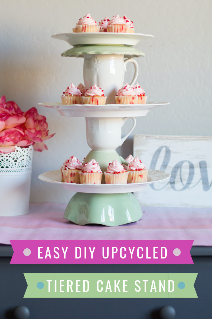 DIY tiered cake stand from vintage plates, bowls and cups