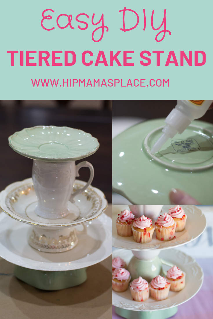 vintage dishes made into a cake stand