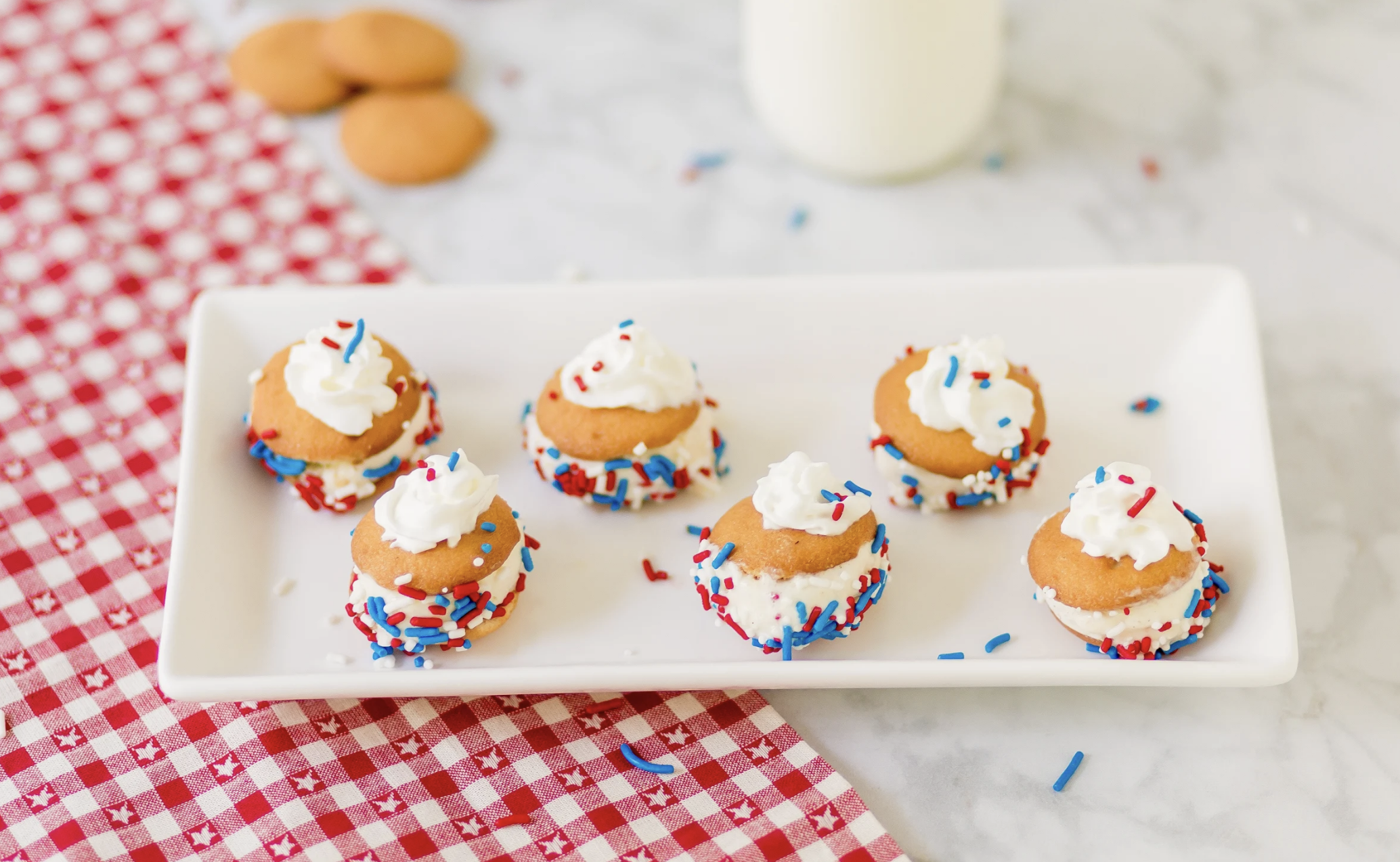 Red, White and Blue Mini Ice Cream Sandwiches with NILLA Wafers