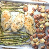 One-Pan Garlic Herb Butter Chicken with Potatoes and Asparagus