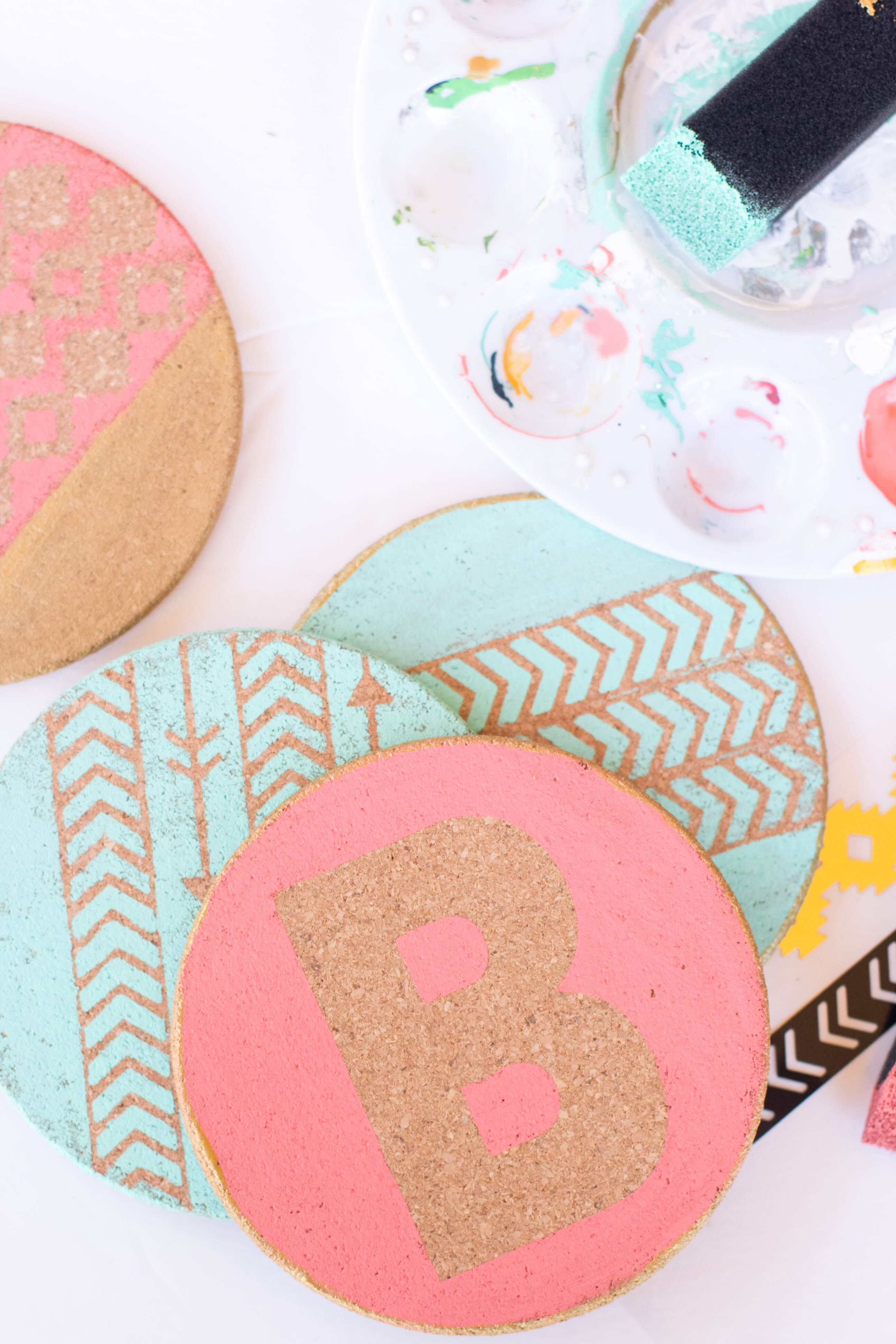 personalized DIY painted cork coasters