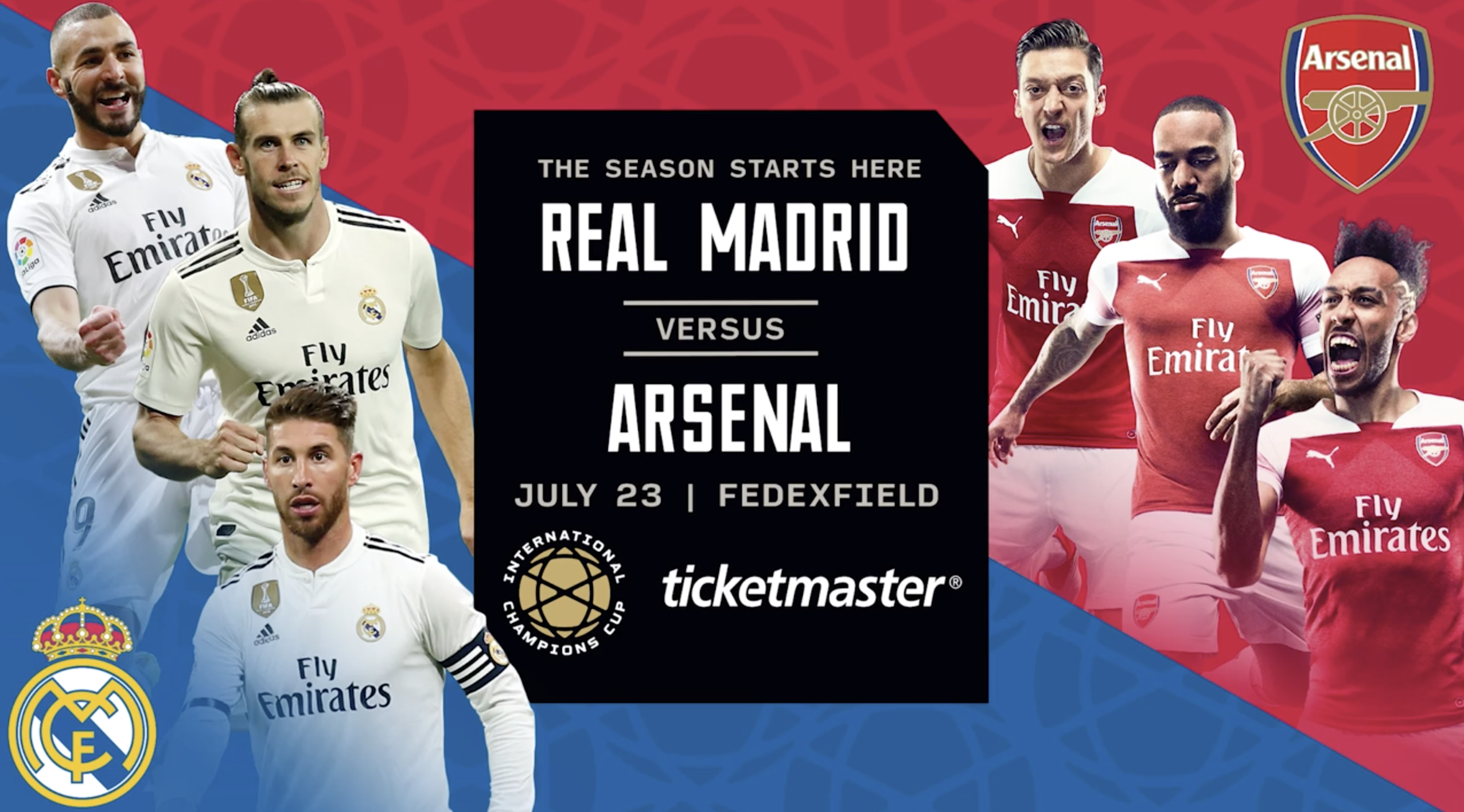 Real Madrid versus Arsenal playing at the FEDEX Field in Washington, DC on July 23, 2019 during the International Champions Cup 2019