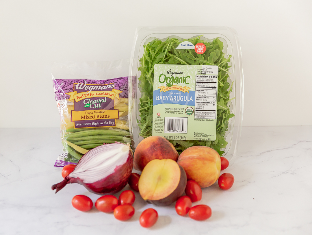 ingredients to make Peach Arugula Salad by Wegmans