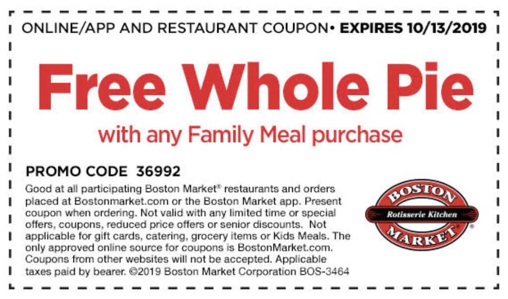 FREE Whole Pie coupon at Boston Market with purchase of any Family Meal