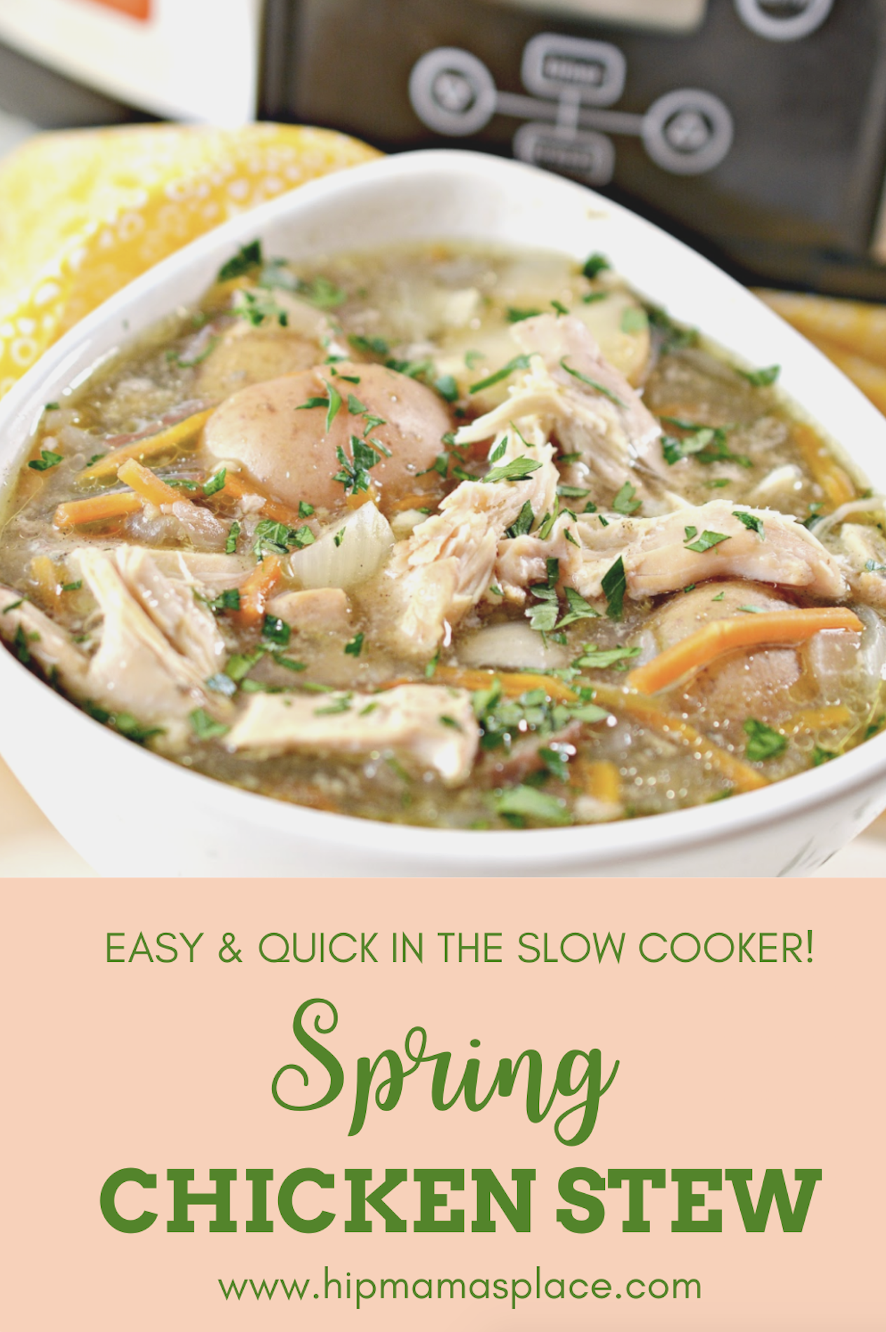 Try this hearty spring-inspired chicken vegetable stew with sweet Vidalia onions, potatoes, carrots and fresh spices - so easy and quick in the slow cooker!#AD #OnlyVidalia #easymeals #slowcookermeals #quickdinner #easyrecipes #comfortfood