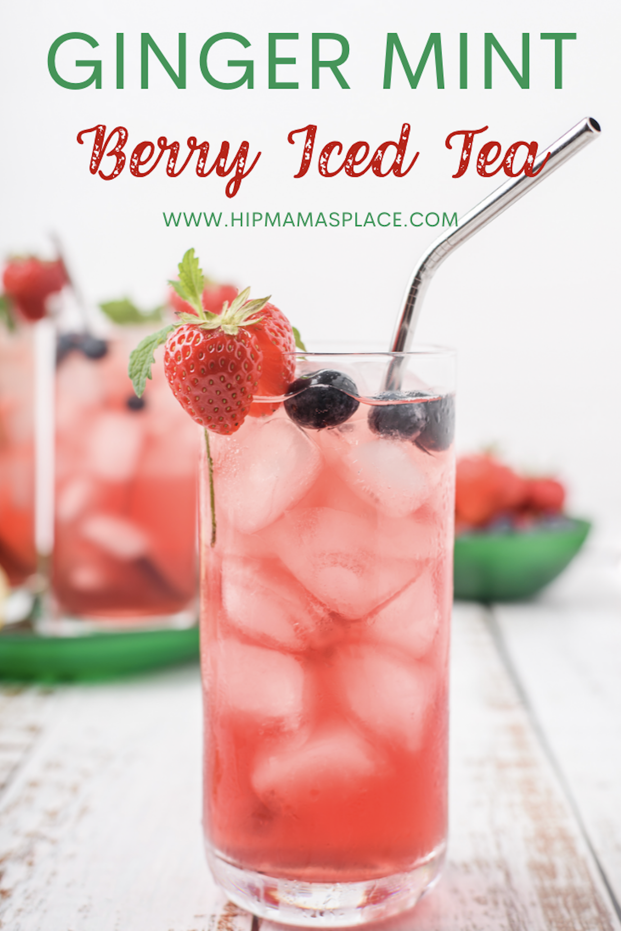 This tasty, refreshing and easy to make ginger mint berry iced tea is perfect for your next family barbecue or any get together this summer!#icedtea #summerdrink #berries #healthy #healthydrink #minttea #berrydrink #minttea #strawberries #foodies #foodblogger #yummy
