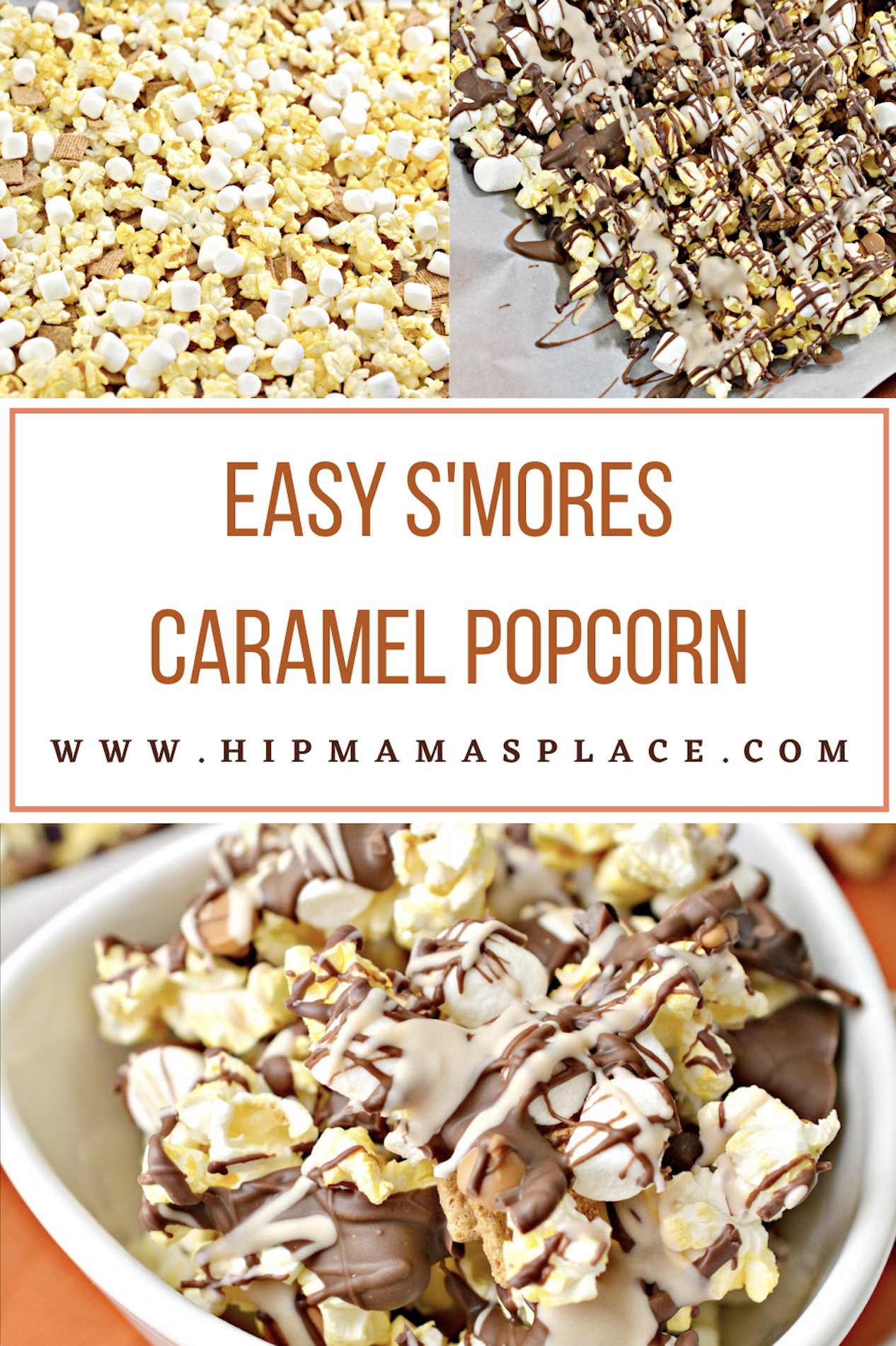 You'll love this easy, yummy, no bake sweet treat: S'mores Caramel Popcorn with marshmallow-ey chocolate caramel goodness...mmm.. so good!