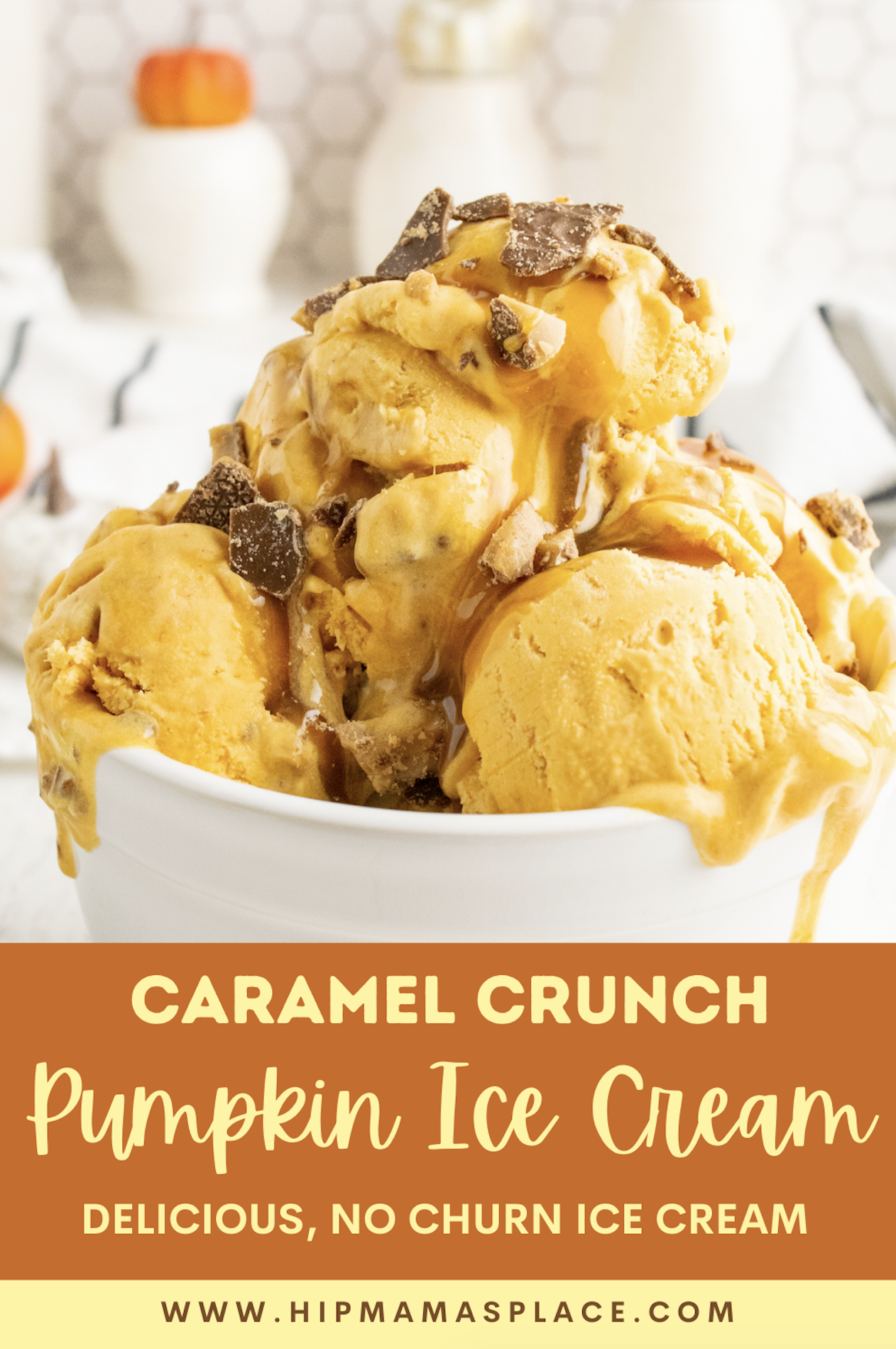This easy, delicious, no churn caramel crunch pumpkin ice cream is a perfect dessert for any day- not just during pumpkin season!