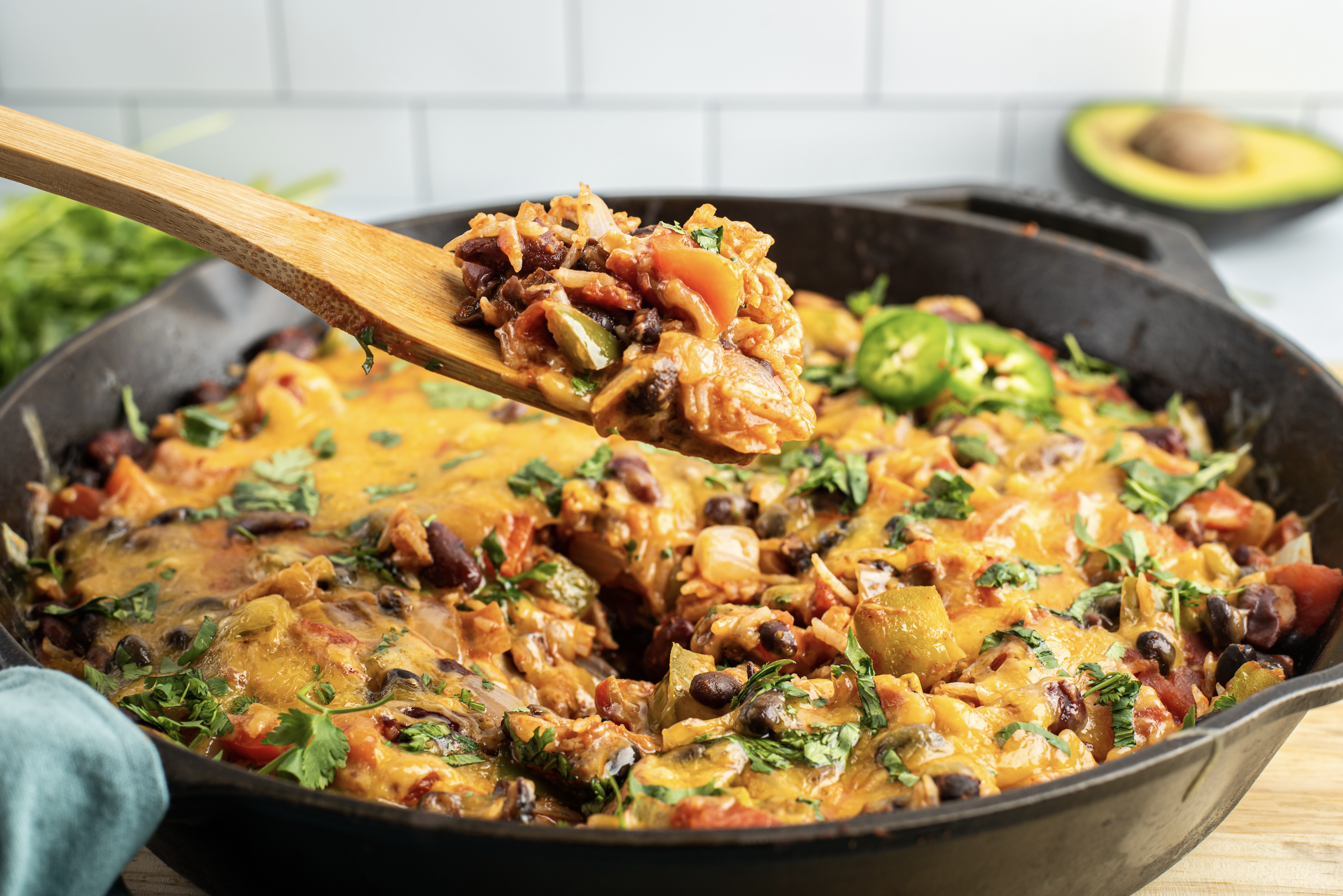 one skillet cheesy rice and beans