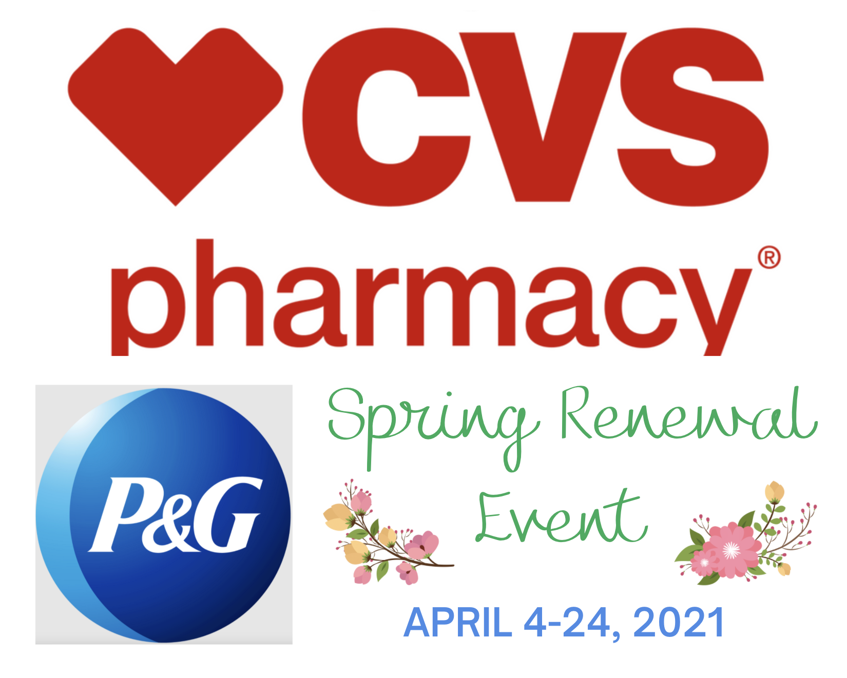 From April 4-21, 2021, you can get $10 Extra Bucks back when you spend $40 of P&G products at CVS during the Spring Renewal savings event!