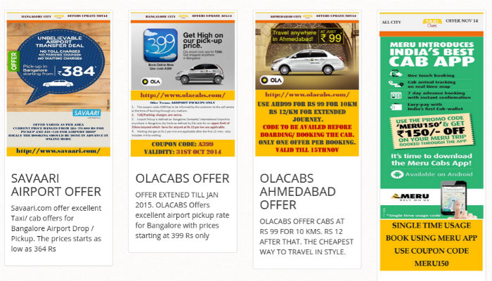 Offers  from different service providers