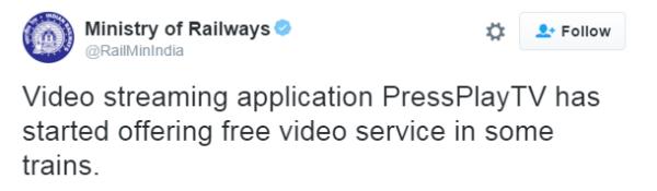 Railway ministry tweet