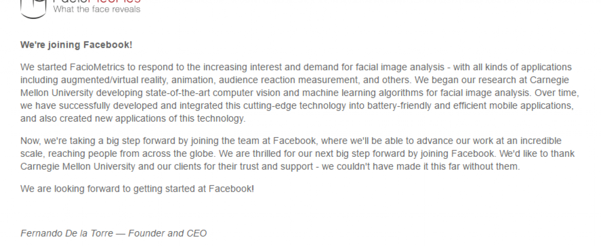 Facebook Acquired Facial Recognition Startup FacioMetrics To Challenge Snapchat