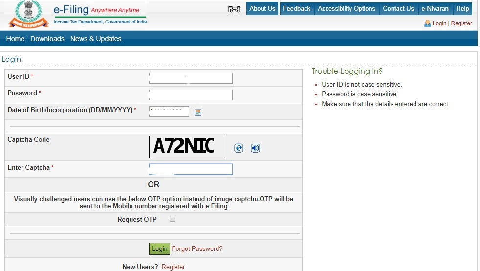 Income tax filing online