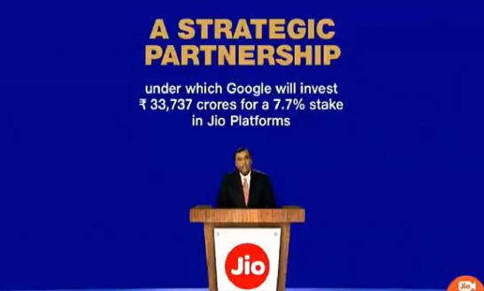 Google invests $4.5 billion for 7.7% stake in Jio platforms
