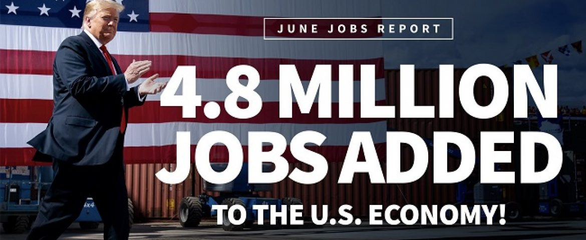 US added 4.8 million jobs in June, Unemployment Rate falls to 11.1%