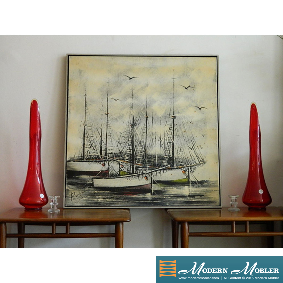Large Vintage Sailboats Painting