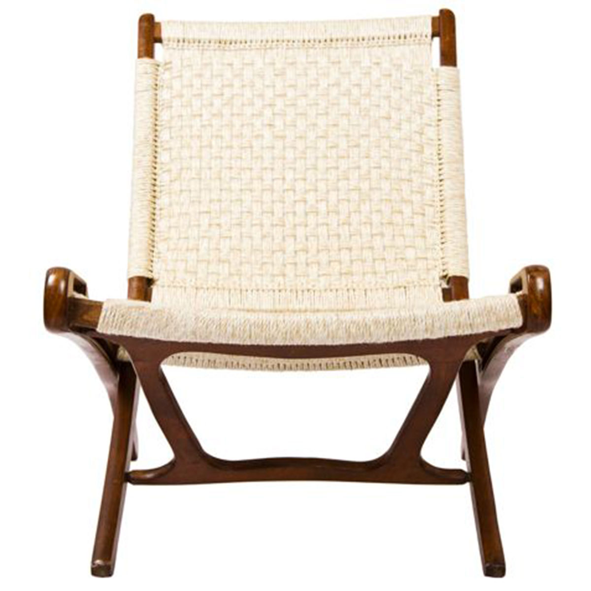 Walnut Danish Cord Folding Chair