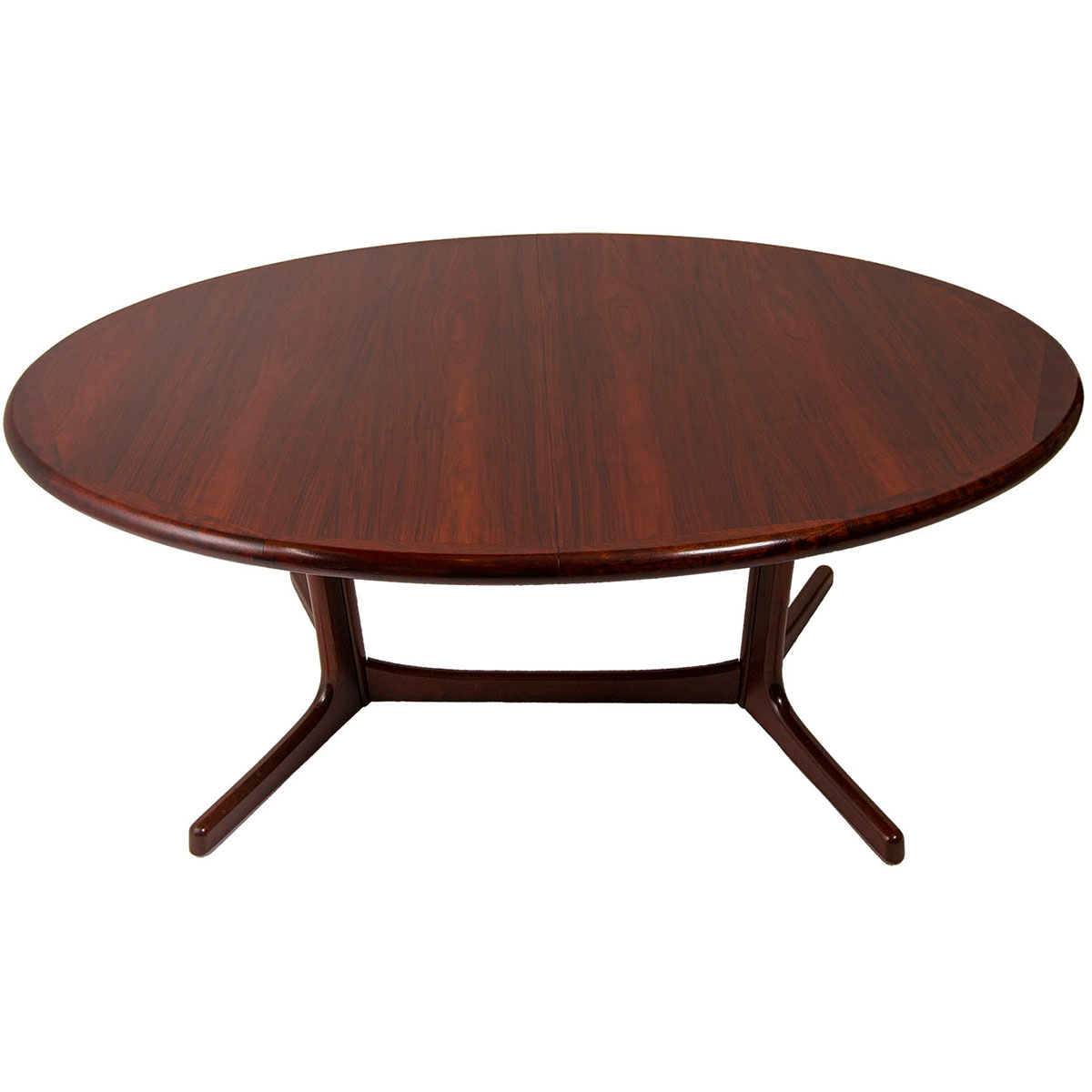 Majestic Danish Modern Rosewood Large Oval Expanding Dining Table