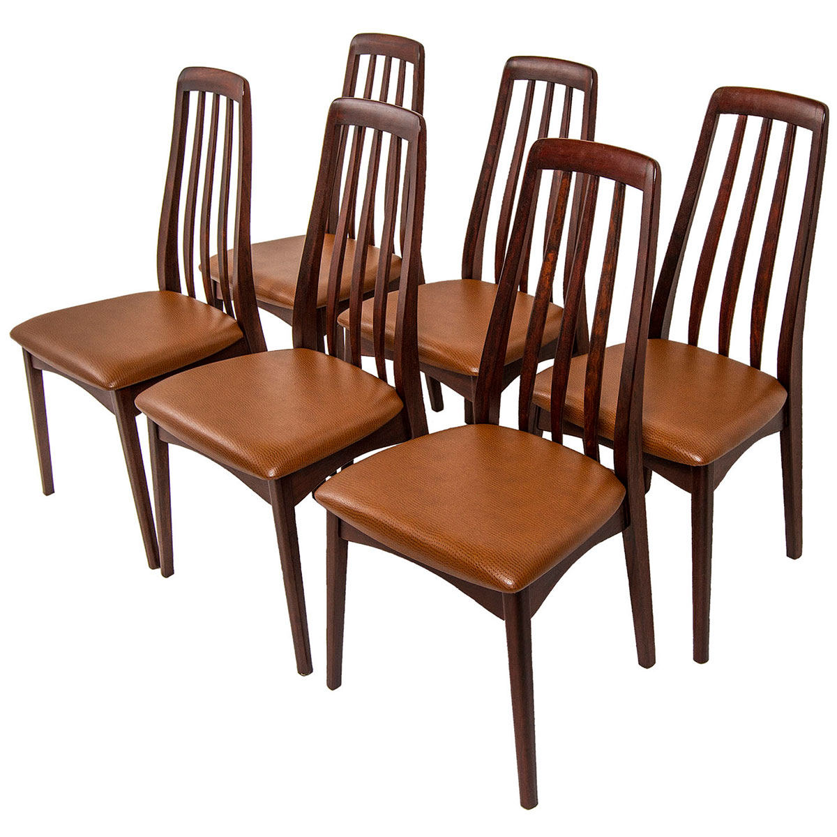 Set of 6 Swedish Rosewood Dining Chairs w/ New CAFE-MOCHA Upholstery