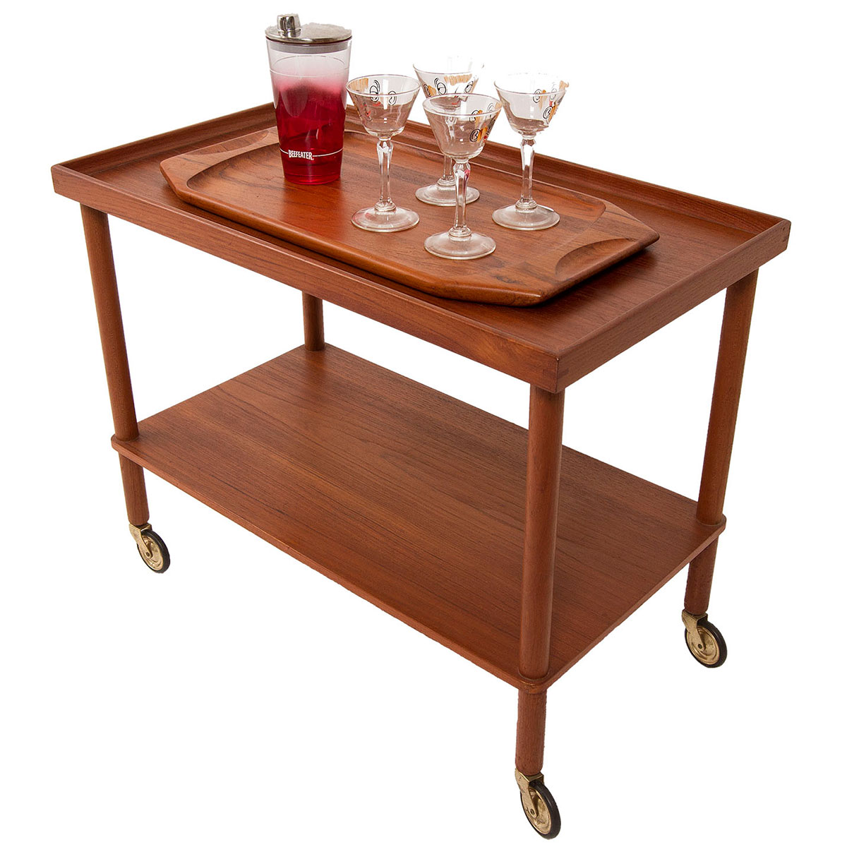 Danish Modern Teak Compact Bar/Serving Cart