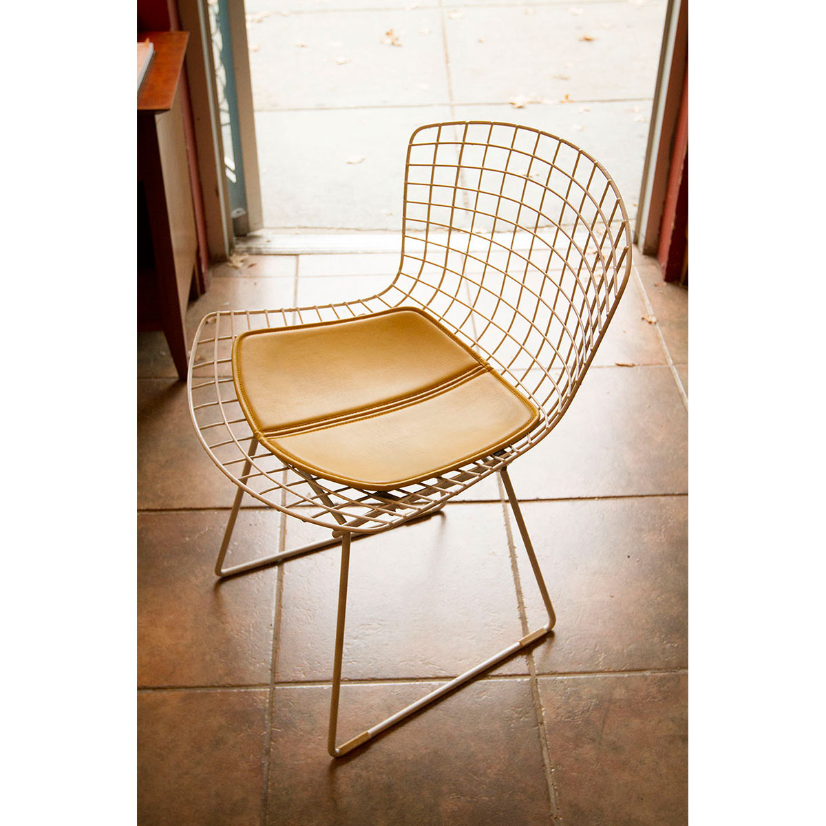 Harry Bertoia White Wire Chair w/ Yellow Cushion