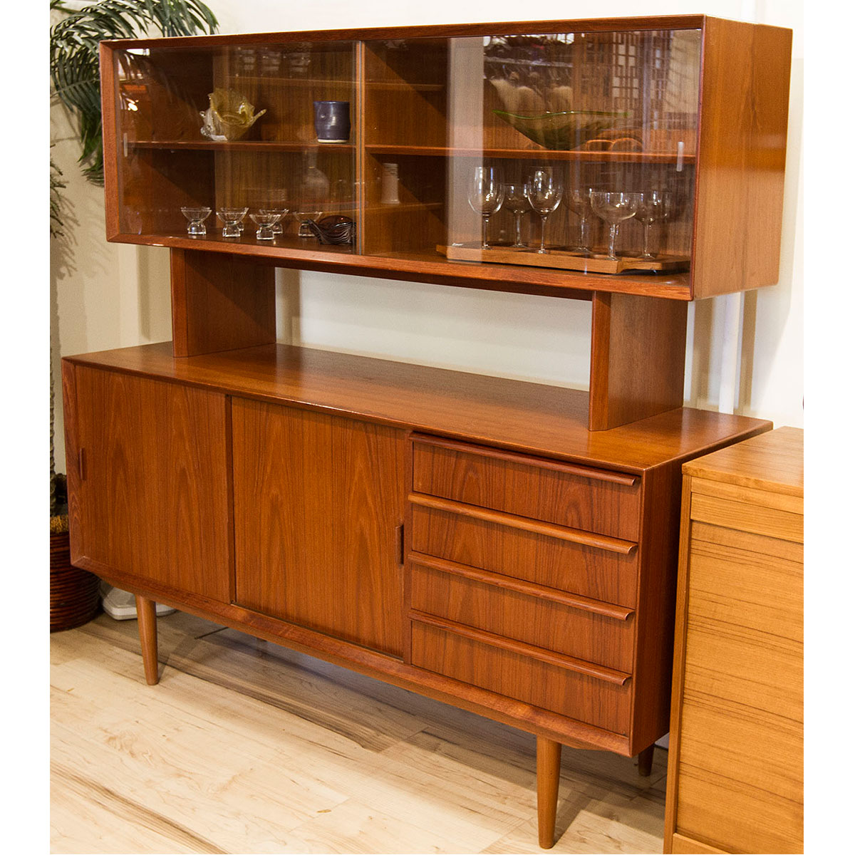 Compact 2-Piece Danish Teak Sideboard w/ Display Top by Falster
