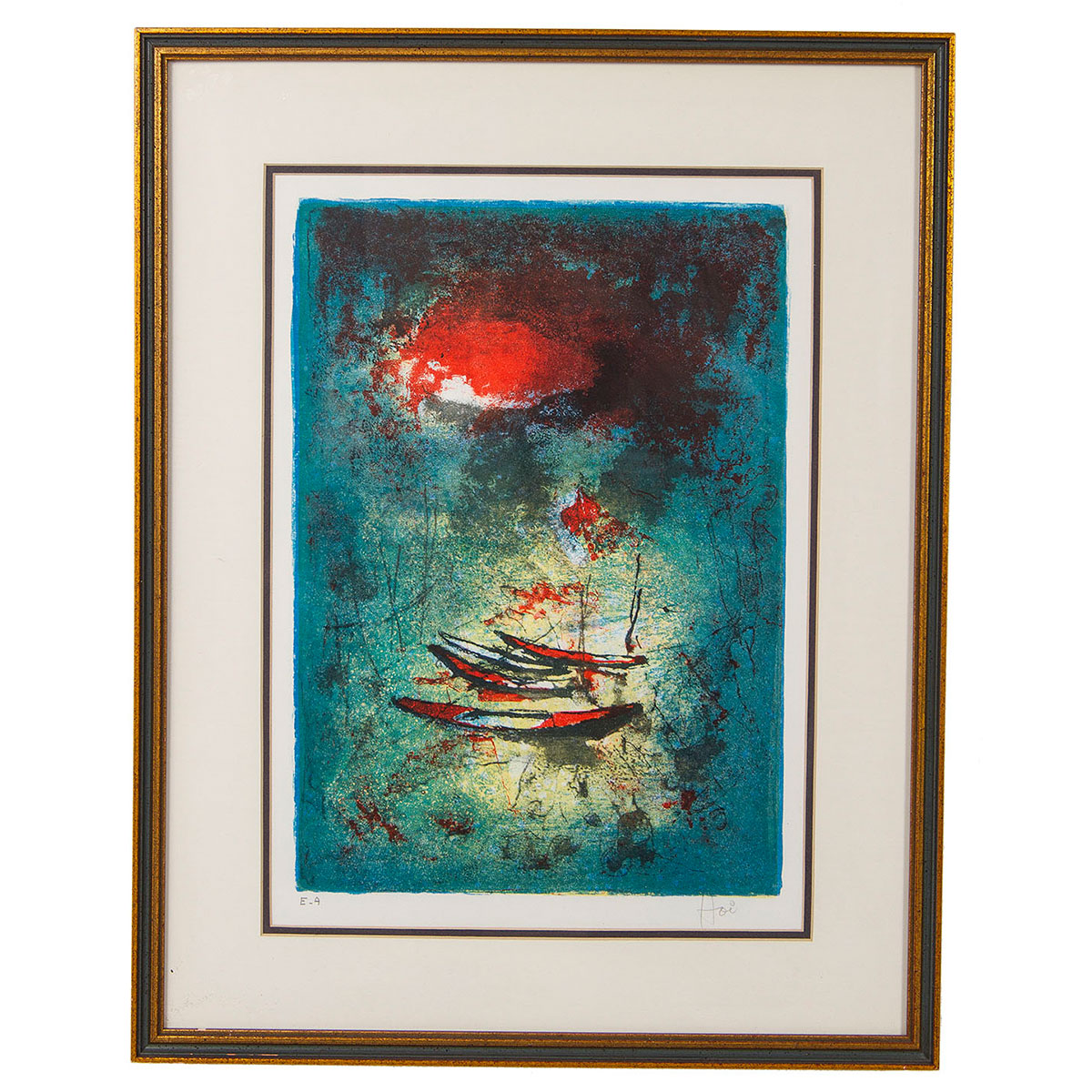 Vintage Lithograph of Fishing Boats by Hoi